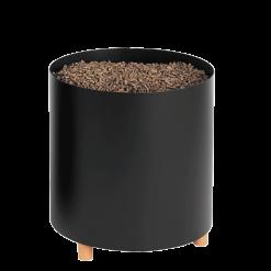 Rangement à granulés-Blend-Acier-Noir givré-30 kg - Idéal pour 2 sacs de 15 kg