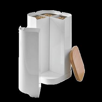 Rangement à granulés-Clover-Acier-Blanc mat-32 kg - Idéal pour 2 sacs de 15 kg