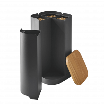 Rangement à granulés-Clover-Acier-Gris sablé-32 kg - Idéal pour 2 sacs de 15 kg