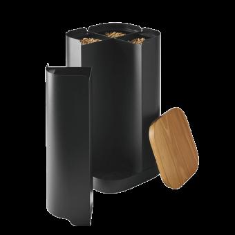 Rangement à granulés-Clover-Acier-Noir givré-32 kg - Idéal pour 2 sacs de 15 kg