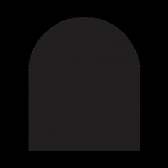 Plaque de sol-Demie-ronde-Acier-Noir givré-