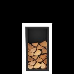Niche à bois-Primo-Acier-Noir givré-25 bûches