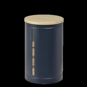 Rangement à granulés-Octaris-Acier-Bleu nuit / Couv. Bois-20 kg - Idéal pour 2 sacs de granulés de 10 Kg