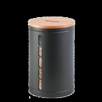 Rangement à granulés-Octaris-Acier-Gris sablé / Couv. Bois-20 kg - Idéal pour 2 sacs de granulés de 10 Kg