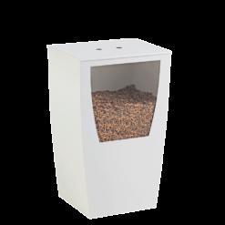 Rangement à granulés-Opus-Acier-Blanc mat-45 kg - Idéal pour 3 sacs de 15 kg