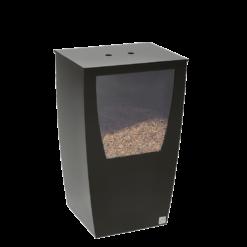 Rangement à granulés-Opus-Acier-Noir givré-45 kg - Idéal pour 3 sacs de 15 kg