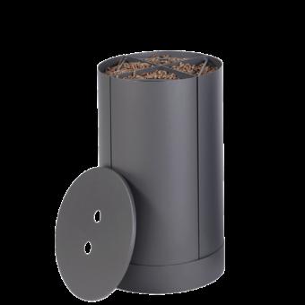 Rangement à granulés-Fractio-Acier-Gris sablé-20 kg - Idéal pour 2 sacs de 10 kg