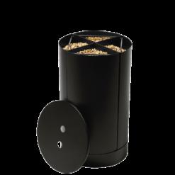 Rangement à granulés-Fractio-Acier-Noir givré-20 kg - Idéal pour 2 sacs de 10 kg