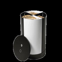 Rangement à granulés-Fractio-Acier-Blanc mat-20 kg - Idéal pour 2 sacs de 10 kg