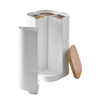 Rangement à granulés-Clover-Acier-Blanc mat-30 kg - Idéal pour 2 sacs de 15 kg