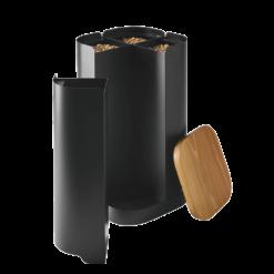 Rangement à granulés-Clover-Acier-Noir givré-30 kg - Idéal pour 2 sacs de 15 kg