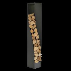 Range-bûches-Eliss-Acier-Noir givré / gris sablé-35 bûches