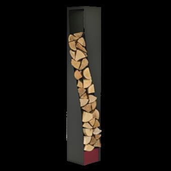 Range-bûches-Eliss-Acier-Noir / Rouge Bordeaux-35 bûches