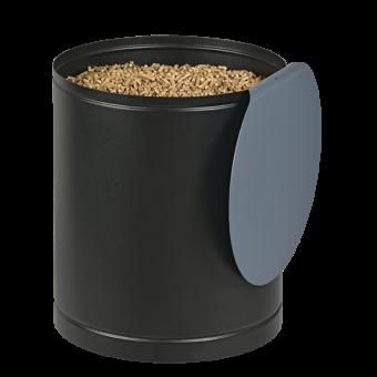 Rangement à granulés-Villa-Acier-Noir / Bleu horizon-30 kg - Idéal pour 2 sacs de 15 kg
