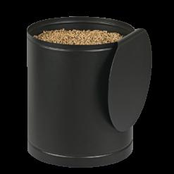 Rangement à granulés-Villa-Acier-Noir givré-30 kg - Idéal pour 2 sacs de 15 kg