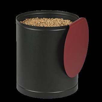 Rangement à granulés-Villa-Acier-Noir / Rouge bordeaux-30 kg - Idéal pour 2 sacs de 15 kg