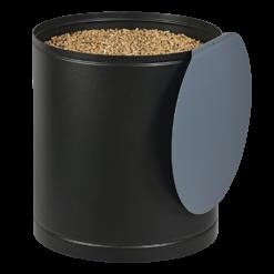 Rangement à granulés-Palass-Acier-Noir / Bleu horizon-50 kg - Idéal pour 3 sacs de 15 kg
