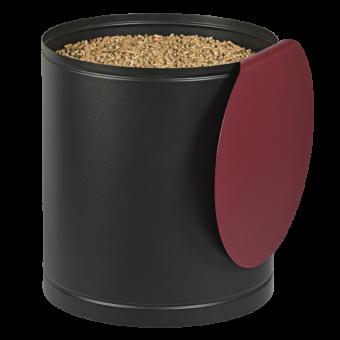Rangement à granulés-Palass-Acier-Noir / Rouge bordeaux-50 kg - Idéal pour 3 sacs de 15 kg