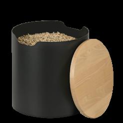 Rangement à granulés-Barrel-Acier / Hêtre-Noir givré-25 kg - Idéal pour 2 sacs de 10 kg