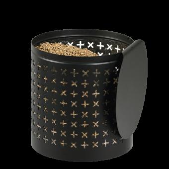 Rangement à granulés-Orion-Acier-Noir-25 kg - Idéal pour 2 sacs de 10 kg