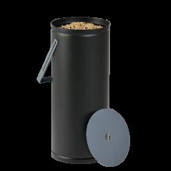 Rangement à granulés-Studio-Acier-Noir / Bleu horizon-Ideal pour 1 sac de granulés de 10 kg