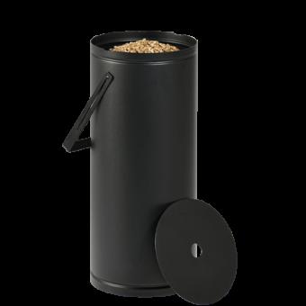 Rangement à granulés-Studio-Acier-Noir givré-Idéal pour 1 sac de granulés de 10 kg