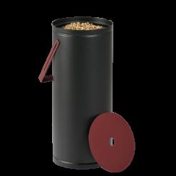 Rangement à granulés-Studio-Acier-Noir / Rouge Bordeaux-Idéal pour 1 sac de granulés de 10 kg