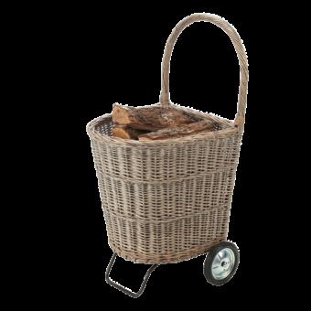Chariot à bûches-Viaggio-Osier gris-Gris-15 bûches