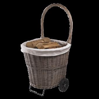 Chariot à bûches-Tissa-Osier gris / Tissu-Gris-10 bûches