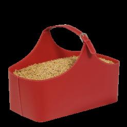 Rangement à granulés-Alpha-Simili cuir-Rouge-10 kg de granulés