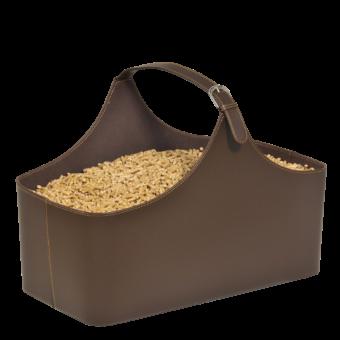 Rangement à granulés-Alpha-Simili cuir-Chocolat-10 kg de granulés