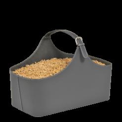 Rangement à granulés-Alpha-Simili cuir-Gris-10 kg de granulés