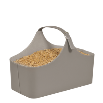 Rangement à granulés-Alpha-Simili cuir-Taupe-10 kg de granulés