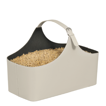 Rangement à granulés-Alpha-Simili cuir-Blanc cassé / Intérieur noir-10 kg de granulés