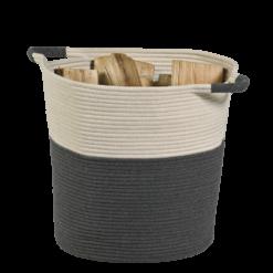 Range-bûches-Cabestan-Corde en coton enroulé cousu-Gris / blanc-12 bûches