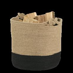 Range-bûches-Carrick-Corde à base de jute-Naturel / Noir-12 bûches
