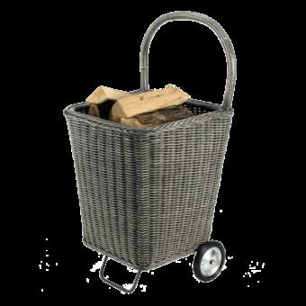 Chariot à bûches-Nomad-Rotin-Gris-15 bûches