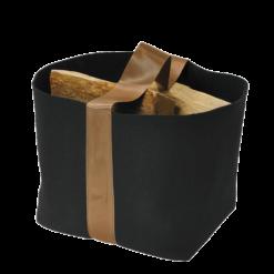 Range-bûches-Trendy-Feutrine noire/Anse cuivre-Noir / Cuivre-25 bûches