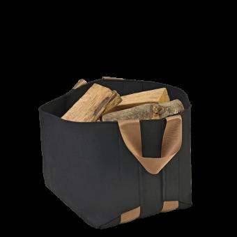 Range-bûches-Wool-Feutrine noire/Anse noire-Noir / Bronze-20 bûches