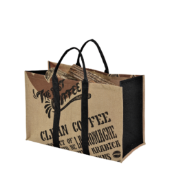 Range-bûches-Coffee-Toile de jute-Noir-15 bûches