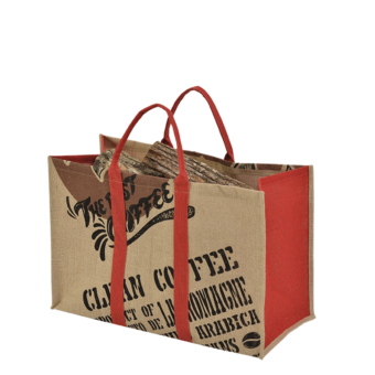 Range-bûches-Coffee-Toile de jute-Rouge-15 bûches