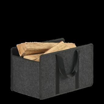 Range-bûches-Fold-Feutrine grise/Anse noire-Gris / Noir-18 bûches