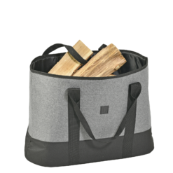 Range-bûches-Oveo-Denim gris coton polyester
