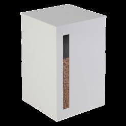 Rangement à granulés-Titan-Acier-Blanc mat-55 kg - Idéal pour 4 sacs de granulés de 15 Kg