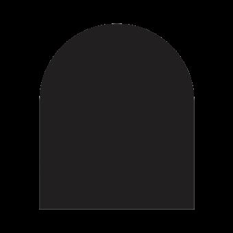 Plaque de sol-Demi-ronde-Acier-Noir givré-